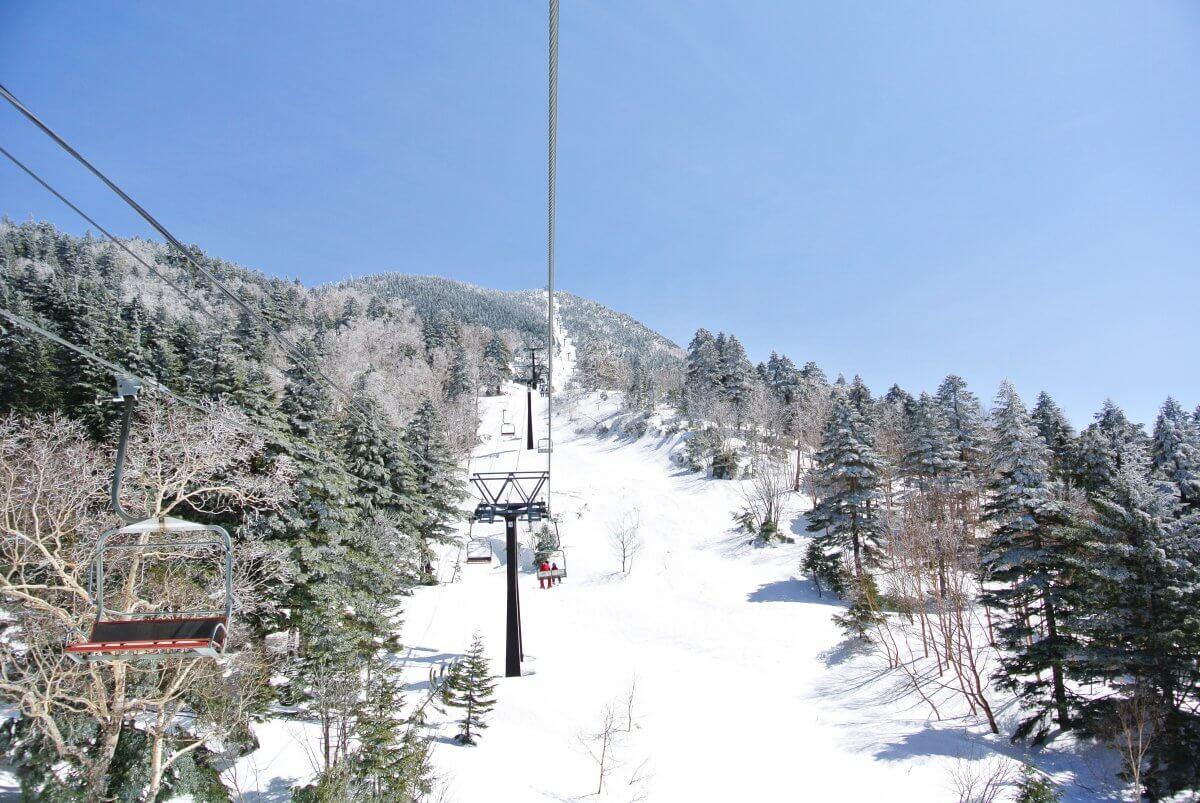 志賀高原スキー場 リフトからの眺め